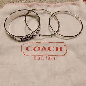Authentic coach 3 piece silver bracelet set